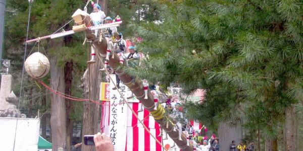 เทศกาลชินะโนะโนะคุนิ นิโนมิยะ โอโนะองบะชิระไซ